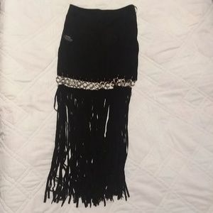 Skirt with fringe 100% leather